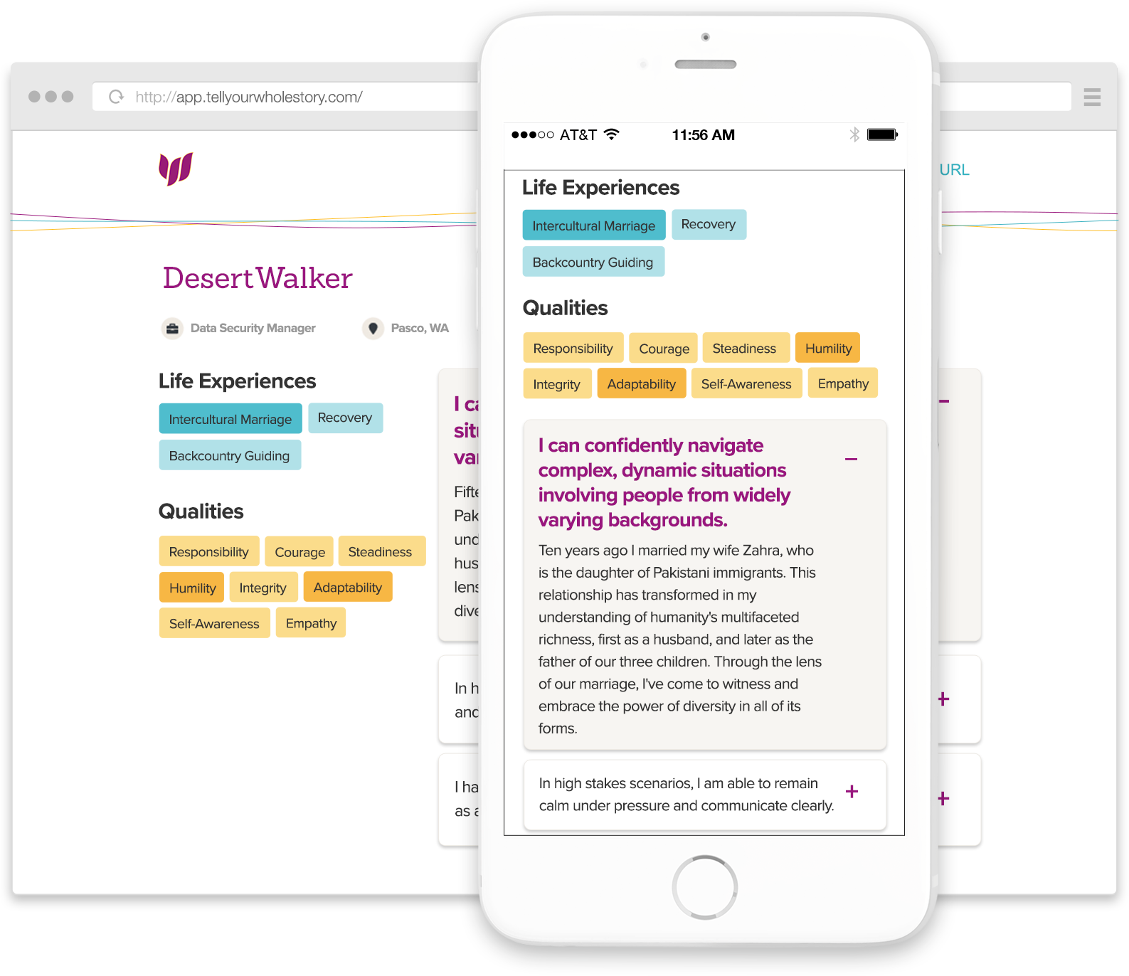 WholeStory profile with mobile and desktop views