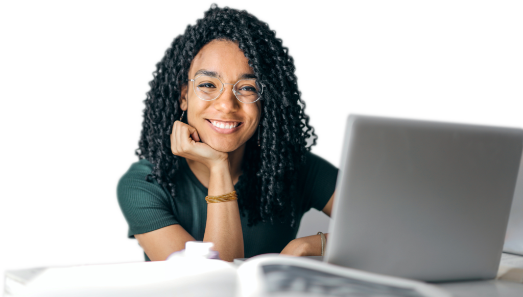 Woman smiling while working at the computer