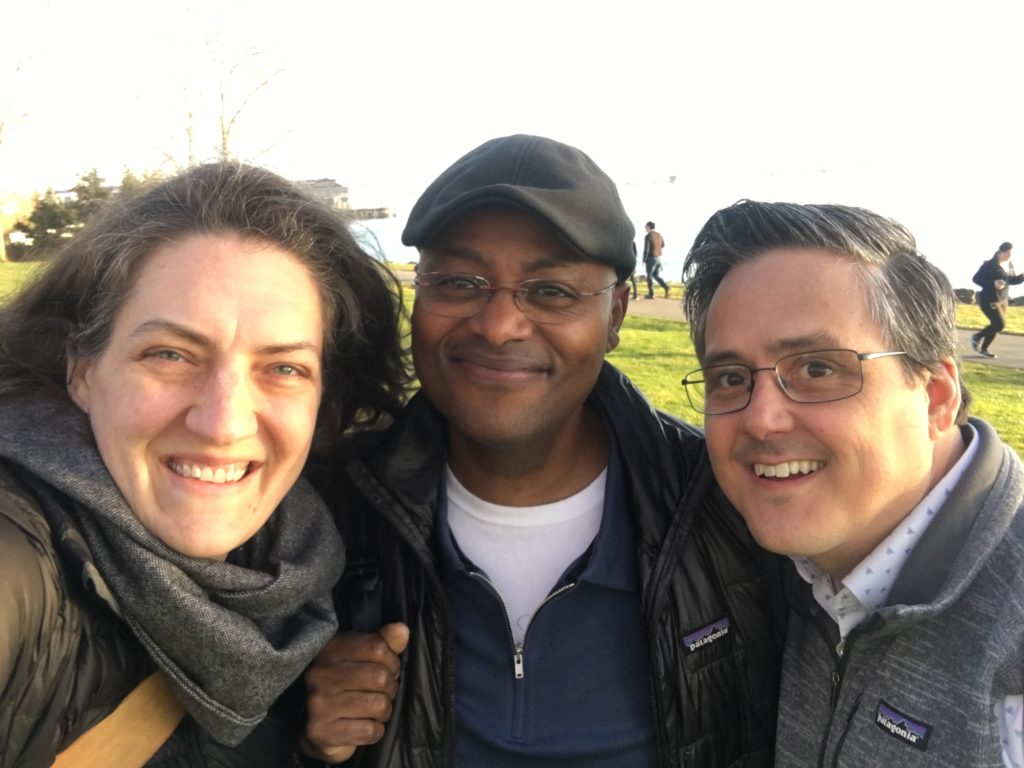 Erin Anacker, Darren Varnado, and John Roach together in a park